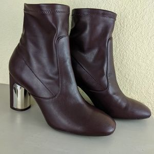 ZARA NWOT Sock Boot Maroon Round Block Heel 38